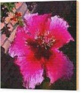 Hibiscus In The Sun Wood Print