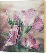 Hibiscus Sky - Pastel Pink Tones Wood Print