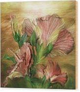 Hibiscus Sky - Peach And Yellow Tones Wood Print
