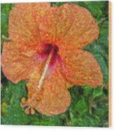 Hibiscus Van Gogh Wood Print