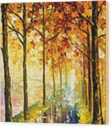 Hidden Path - Palette Knife Oil Painting On Canvas By Leonid Afremov Wood Print