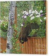 Hiding Moose Wood Print by Jennifer Kimberly