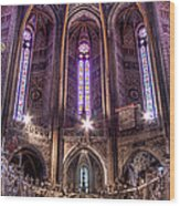 High Altar And Stained Glass Windows  Wood Print