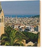 High Angle View Of A City, Barcelona Wood Print
