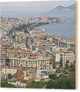 High Angle View Of A City, Naples Wood Print