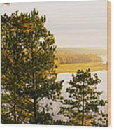 High Angle View Of A River, Ausable Wood Print