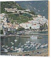High Angle View Of A Town, Amalfi Wood Print