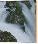High Angle View Of A Waterfall, Sol Duc Wood Print
