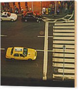 High Angle View Of Cars At A Zebra Wood Print