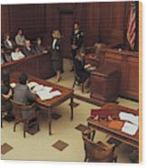 High angle view of courtroom Wood Print