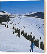 High Angle View Of Skiers Skiing, Vail Wood Print