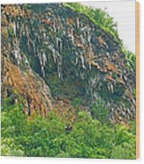 High Cliffs Along River Kwai In Kanchanaburi-thailand Wood Print