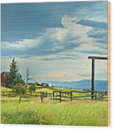 High Country Farm Wood Print by Theresa Tahara