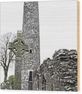 High Cross And Round Tower Monasterboice Wood Print