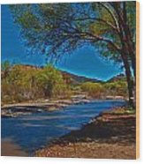High Desert River Bed Wood Print
