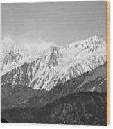 High Himalayas - Black And White Wood Print