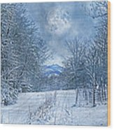 High Peak Mountain Snow Wood Print