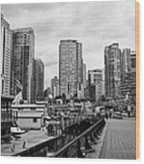 high rise apartment condo blocks in the west end coal harbour marina Vancouver BC Canada Wood Print