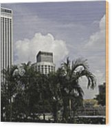 High Rise Buildings Behind Trees Along With Construction Work In Singapore Wood Print