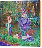 High Satch Scarecrow In A Hat Wood Print