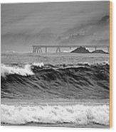 High Seas By The Pier Wood Print