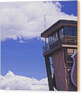 High Section View Of Railroad Tower Wood Print