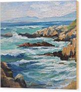 High Surf Asilomar Beach Wood Print