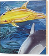 High Tech Dolphins Wood Print by Thomas J Herring