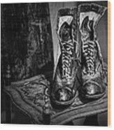 High Top Shoes - Bw Wood Print