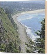 High View Of Oregon Coast Wood Print