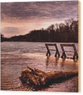 High Water On The Wolf River Wood Print