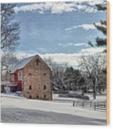 Highland Farms In The Snow Wood Print