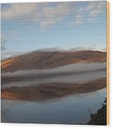 Highland Mists On Water Wood Print