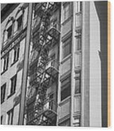 Highrise Fire Escape Bw Wood Print