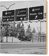 highway 1 intersection directions swift current Saskatchewan Canada Wood Print