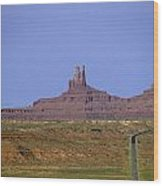 Highway 163 Leading Into Monument Valley With Rock Formations In Wood Print