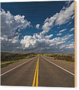 Highway Life - Blue Sky Down The Road In Oklahoma Wood Print
