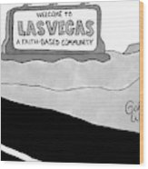 Highway Sign That Says Welcome To Las Vegas Wood Print