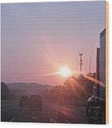 Highway Sunrise Wood Print
