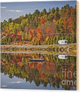 Highway Through Fall Forest Wood Print