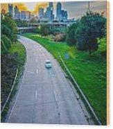 Highway Traffic Near A Big City Wood Print