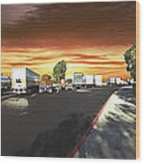 Highway Truck Stop Sunset Panorama Wood Print
