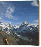 Hiker Admiring Cerro Torre And Fitzroy Wood Print