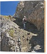 hiker in Dolomites Wood Print