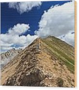 Hiker On Mountain Ridge Wood Print