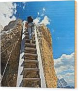 Hiker On Wooden Staircase Wood Print