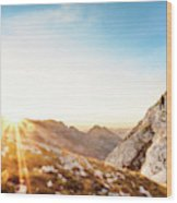 Hiker Standing On Rock Formation Wood Print