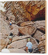 Hikers Enter Ladder Canyon From Big Painted Canyons Trail In Mecca Hills-ca  Wood Print