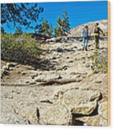 Hikers On Sentinel Dome Trail In Yosemite Np-ca  Wood Print