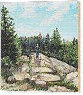 Hiking In Maine Wood Print
